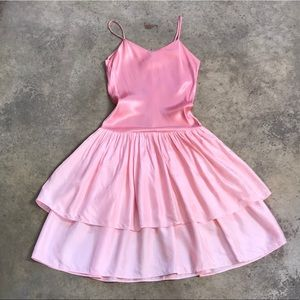 Vintage Ballerina Pink Tiered Ruffle Dress